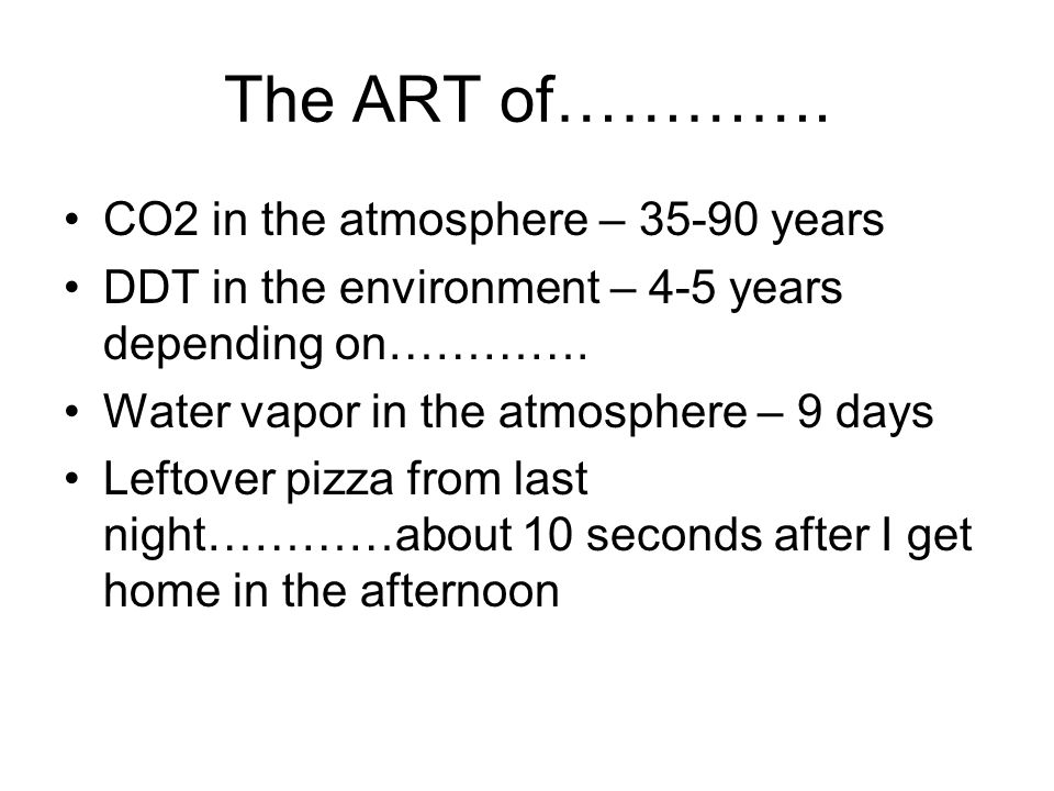 The ART of…………. CO2 in the atmosphere – 35-90 years