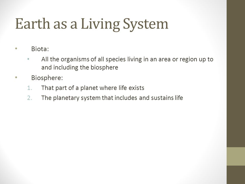 Earth as a Living System