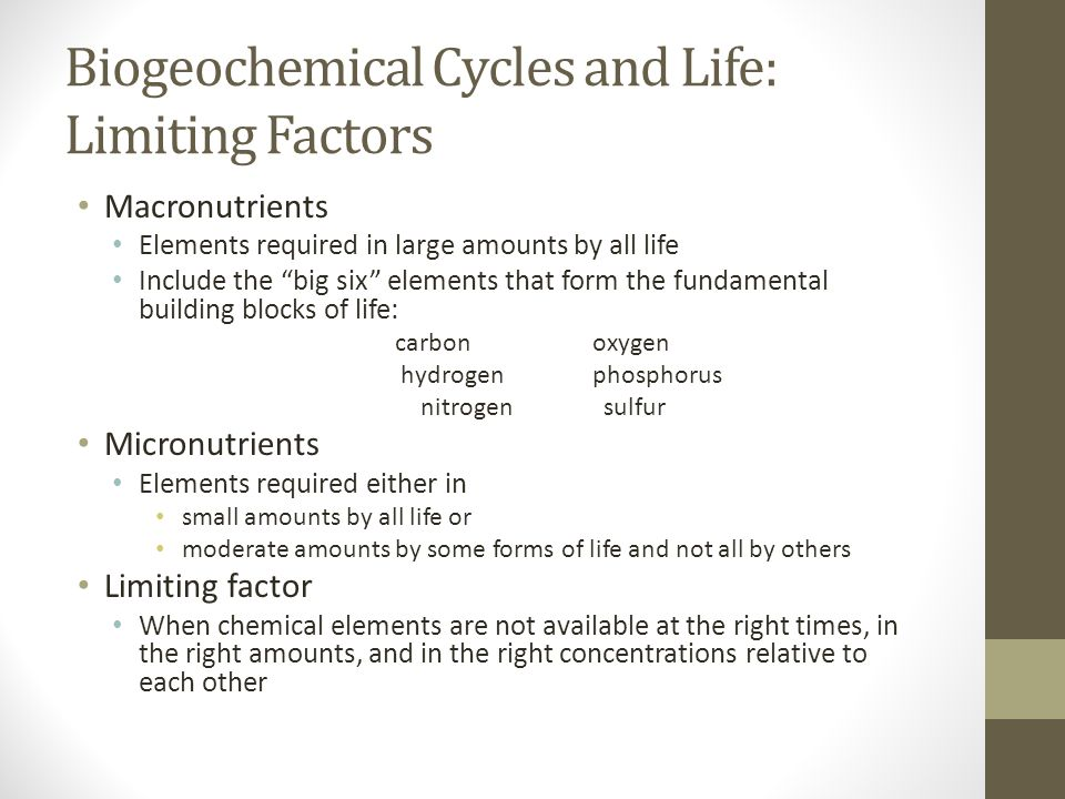 Biogeochemical Cycles and Life: Limiting Factors