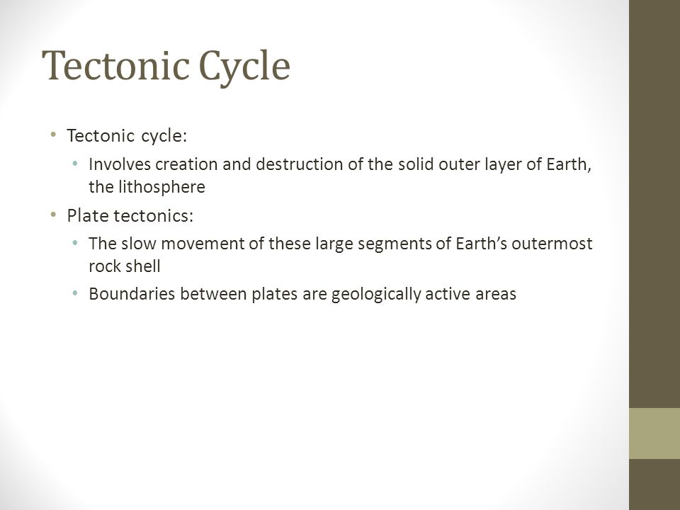 Tectonic Cycle Tectonic cycle: Plate tectonics: