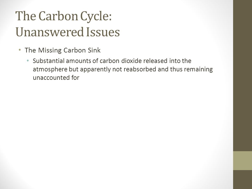 The Carbon Cycle: Unanswered Issues