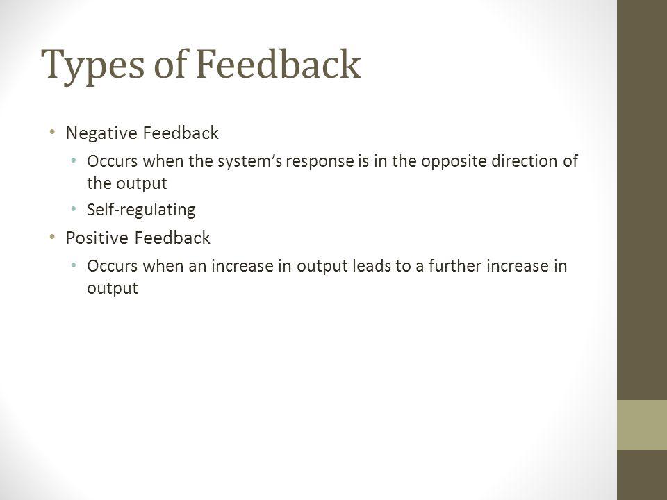 Types of Feedback Negative Feedback Positive Feedback