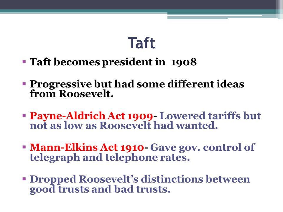 Taft Taft becomes president in 1908