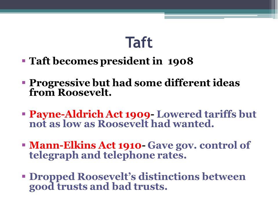 Taft Taft becomes president in 1908