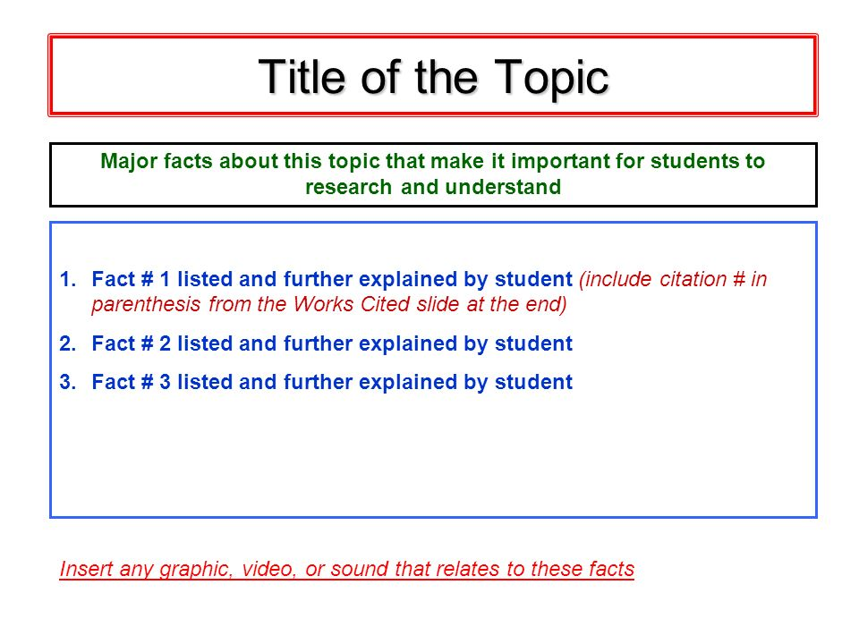 Title of the Topic Major facts about this topic that make it important for students to. research and understand.