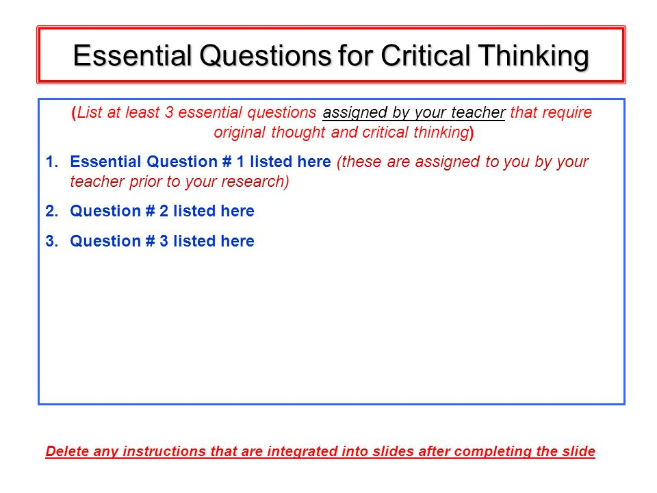 Essential Questions for Critical Thinking