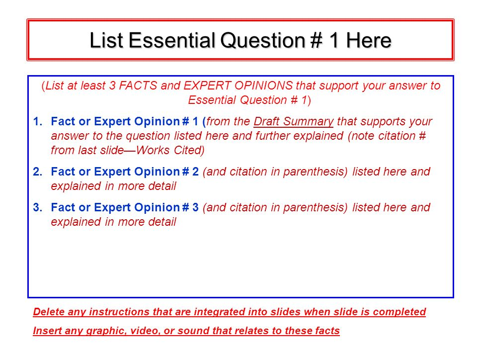 List Essential Question # 1 Here