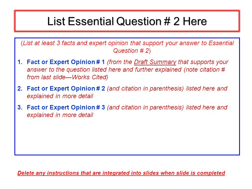 List Essential Question # 2 Here