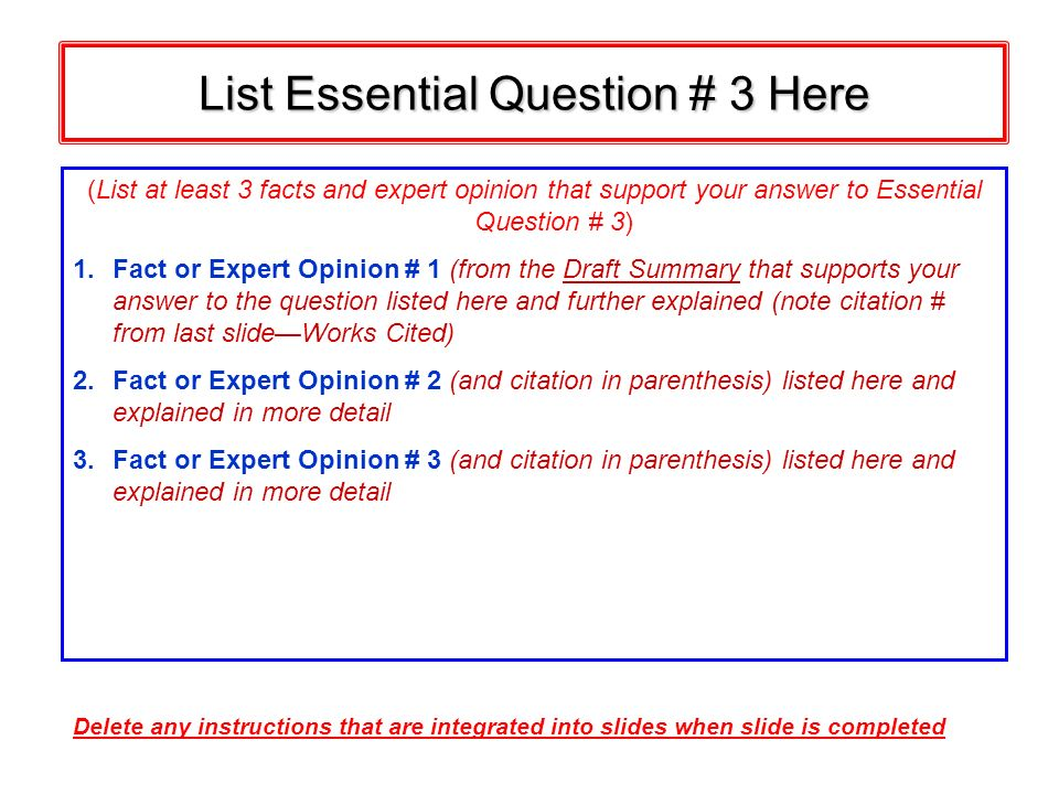 List Essential Question # 3 Here