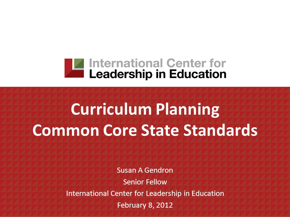 Curriculum Planning Common Core State Standards