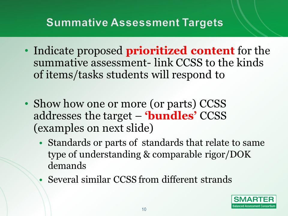 Summative Assessment Targets