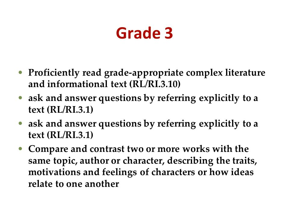Grade 3 Proficiently read grade-appropriate complex literature and informational text (RL/RI.3.10)