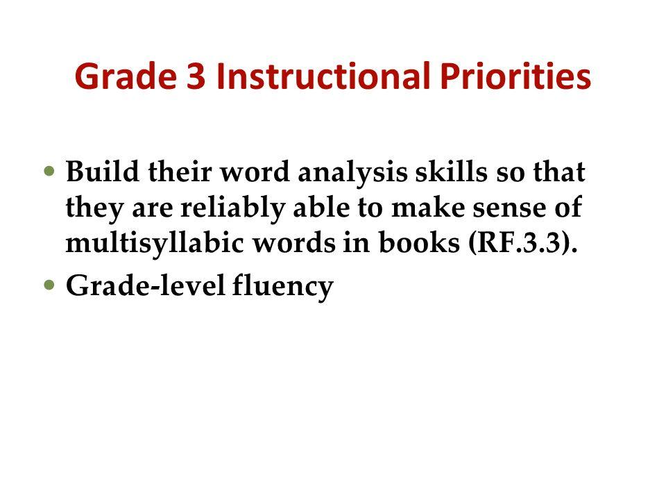 Grade 3 Instructional Priorities