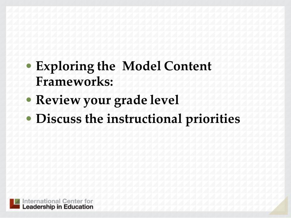 Exploring the Model Content Frameworks: