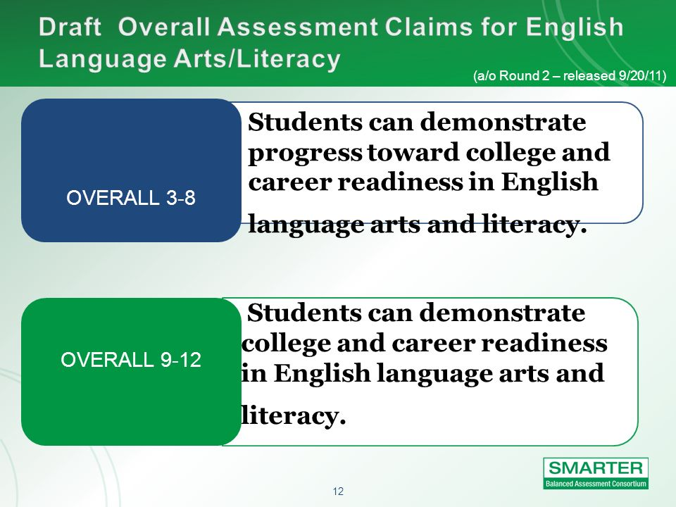 Draft Overall Assessment Claims for English Language Arts/Literacy