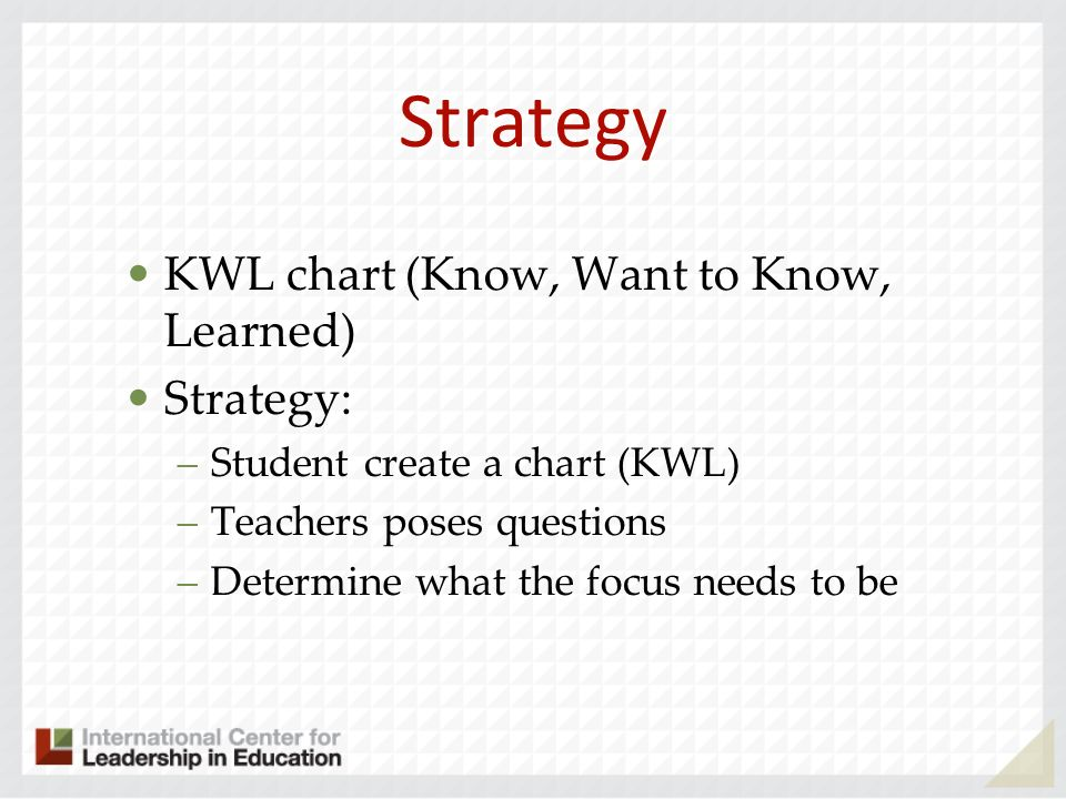 Strategy KWL chart (Know, Want to Know, Learned) Strategy: