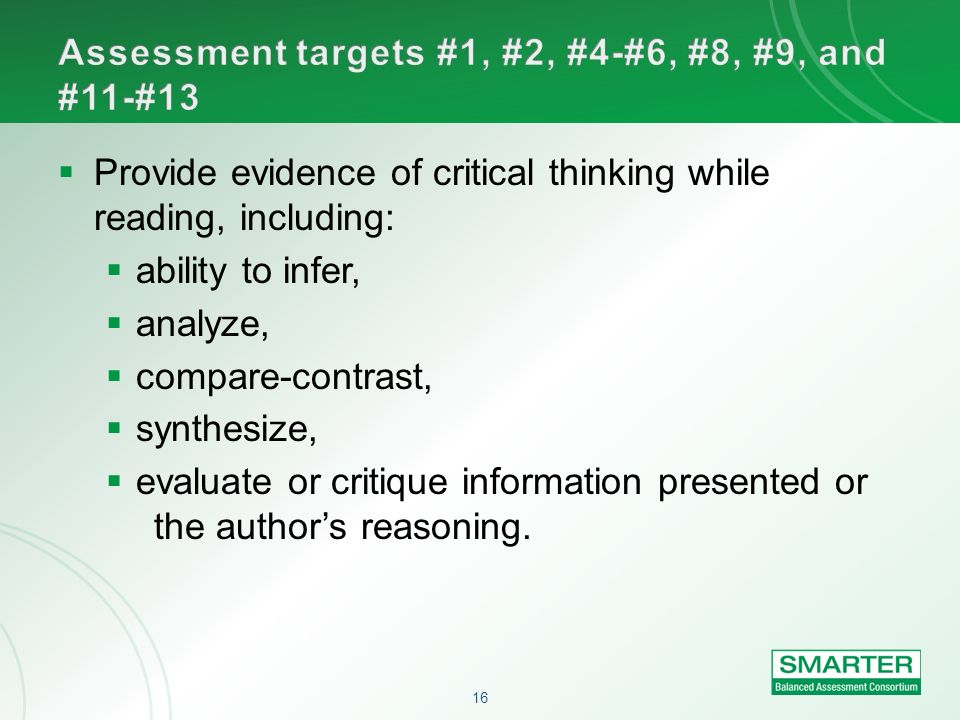 Assessment targets #1, #2, #4-#6, #8, #9, and #11-#13