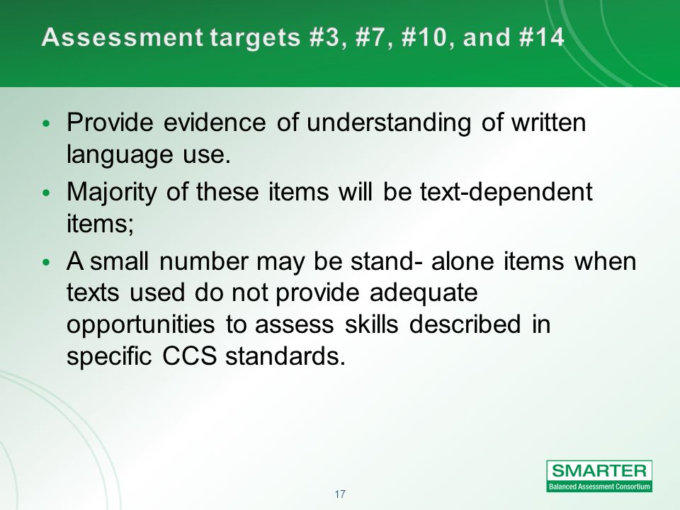Assessment targets #3, #7, #10, and #14