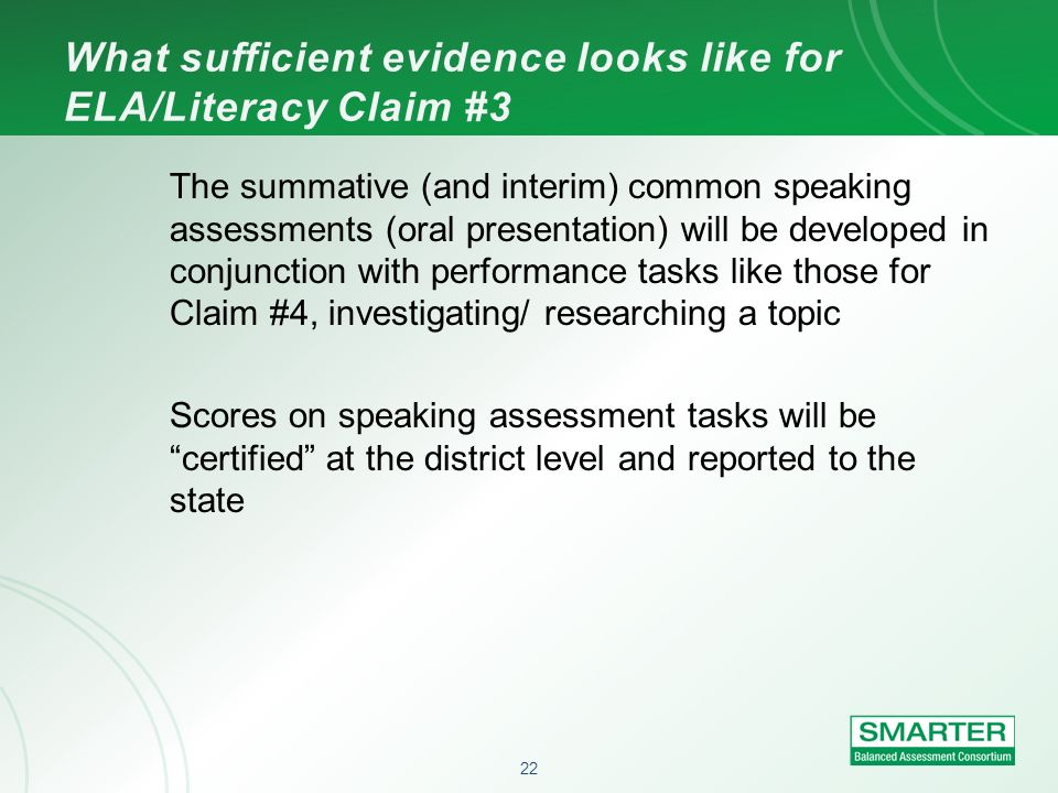 What sufficient evidence looks like for ELA/Literacy Claim #3