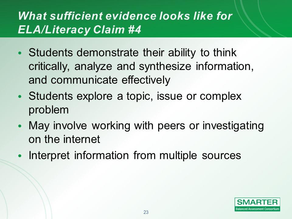 What sufficient evidence looks like for ELA/Literacy Claim #4