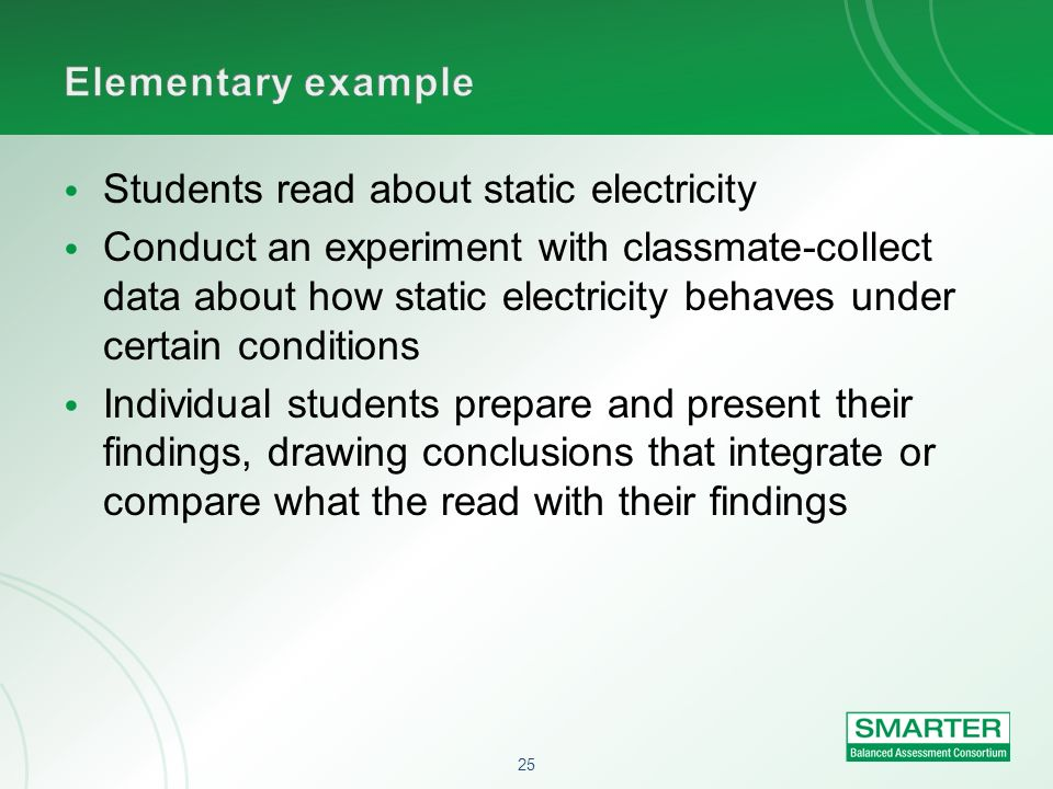 Elementary example Students read about static electricity.