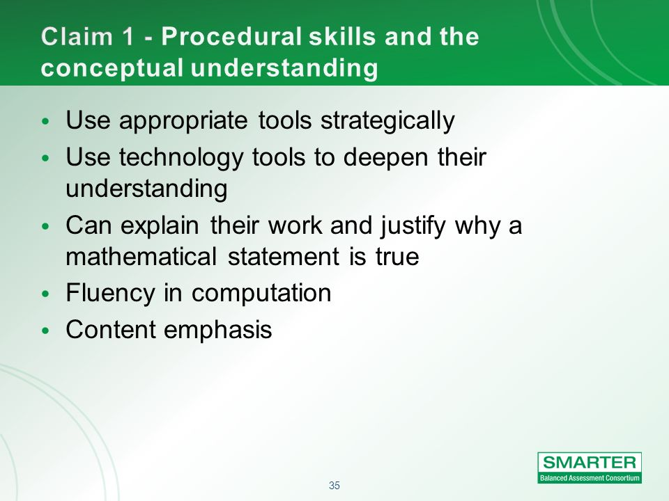 Claim 1 - Procedural skills and the conceptual understanding