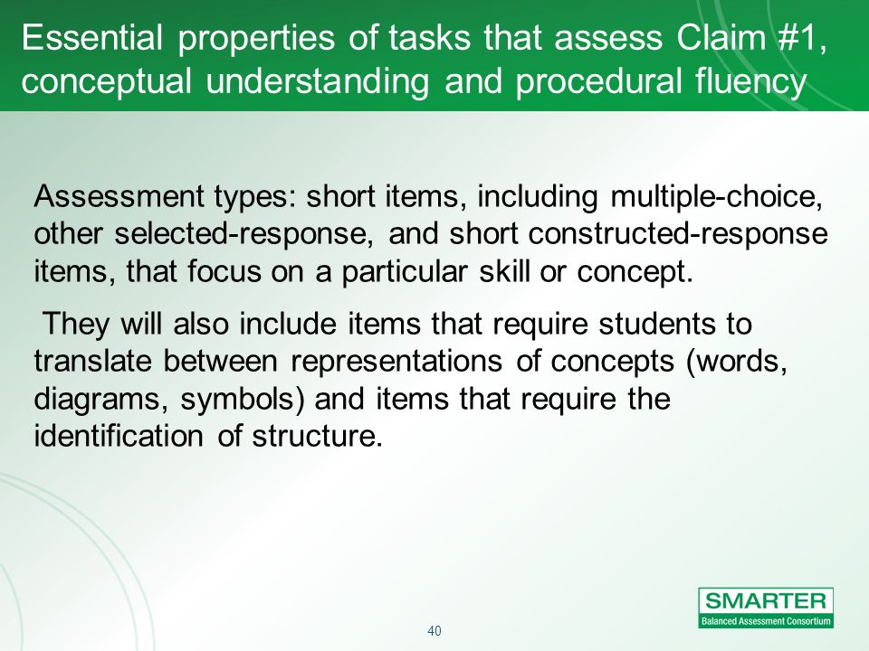 Essential properties of tasks that assess Claim #1, conceptual understanding and procedural fluency