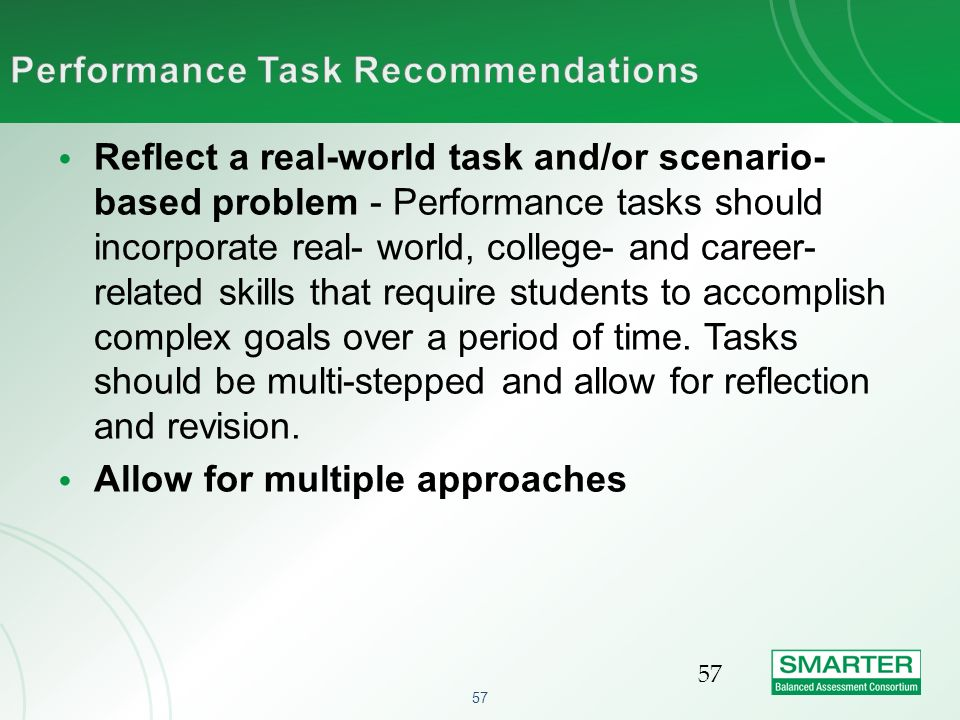 Performance Task Recommendations