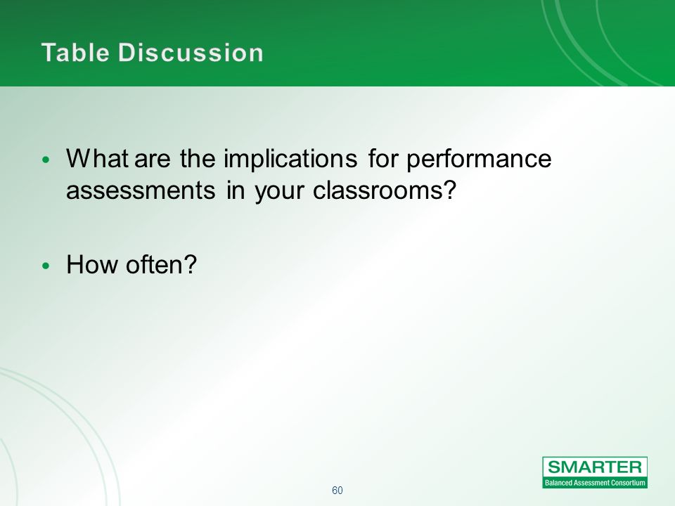 Table Discussion What are the implications for performance assessments in your classrooms.