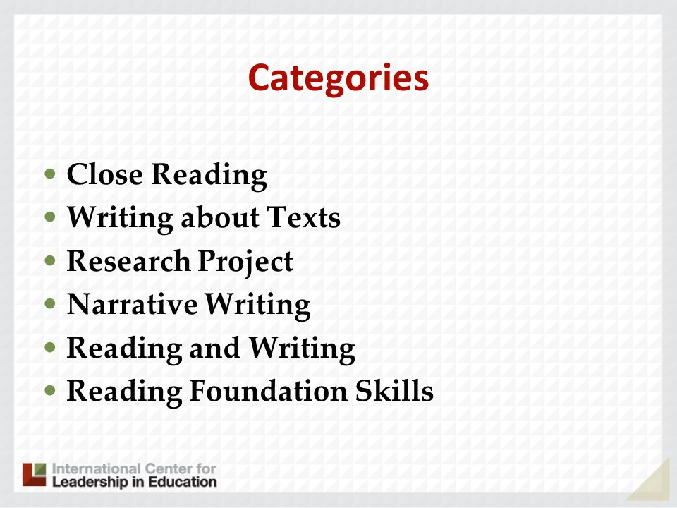 Categories Close Reading Writing about Texts Research Project