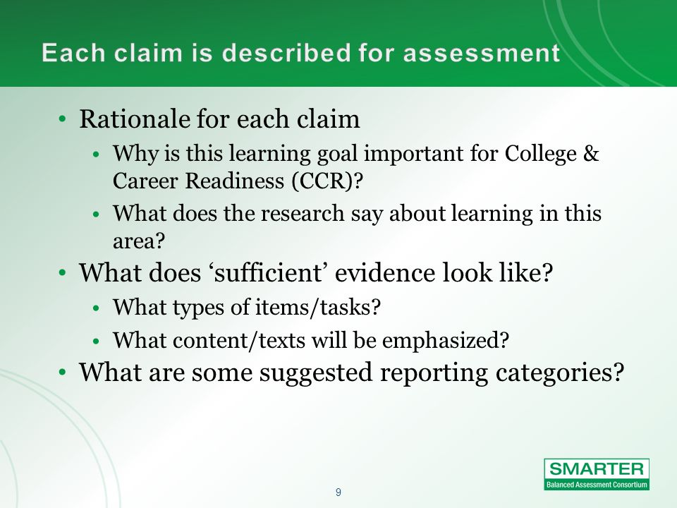 Each claim is described for assessment