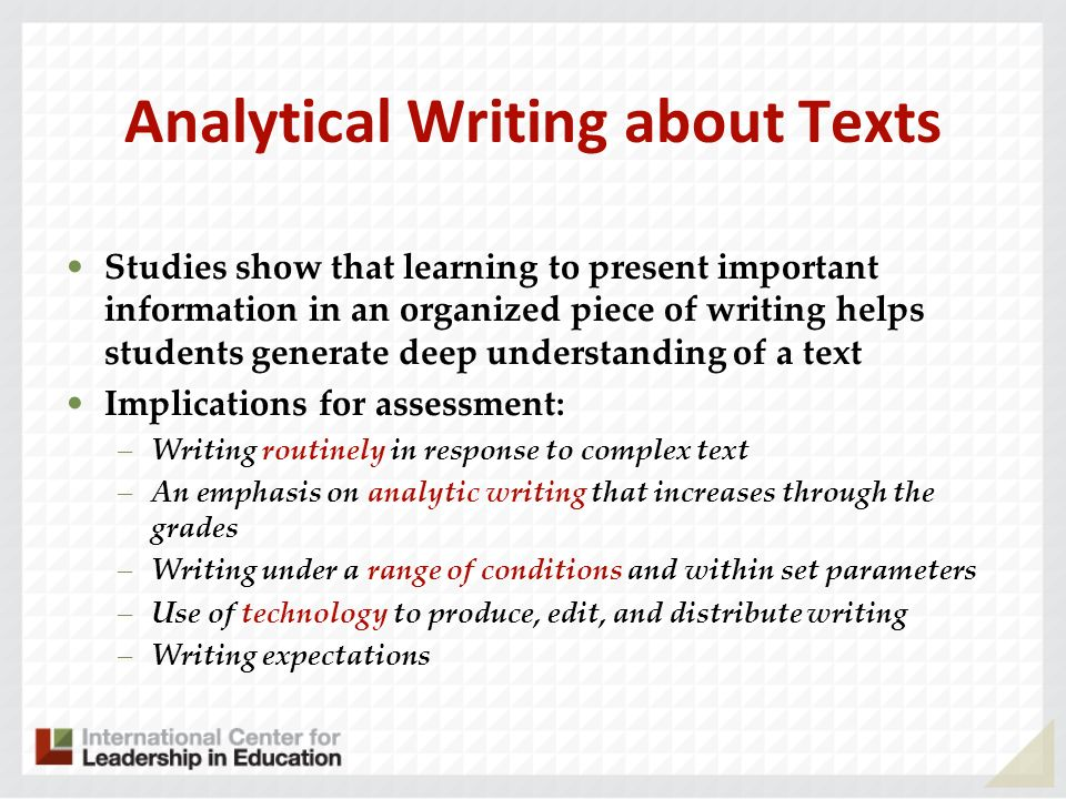 Analytical Writing about Texts