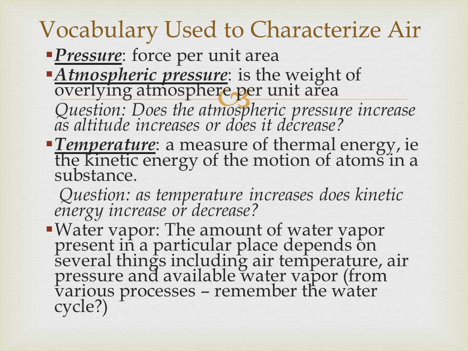 Vocabulary Used to Characterize Air