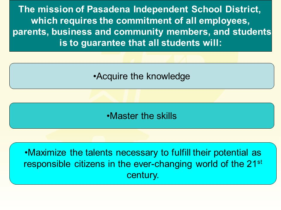 The mission of Pasadena Independent School District,