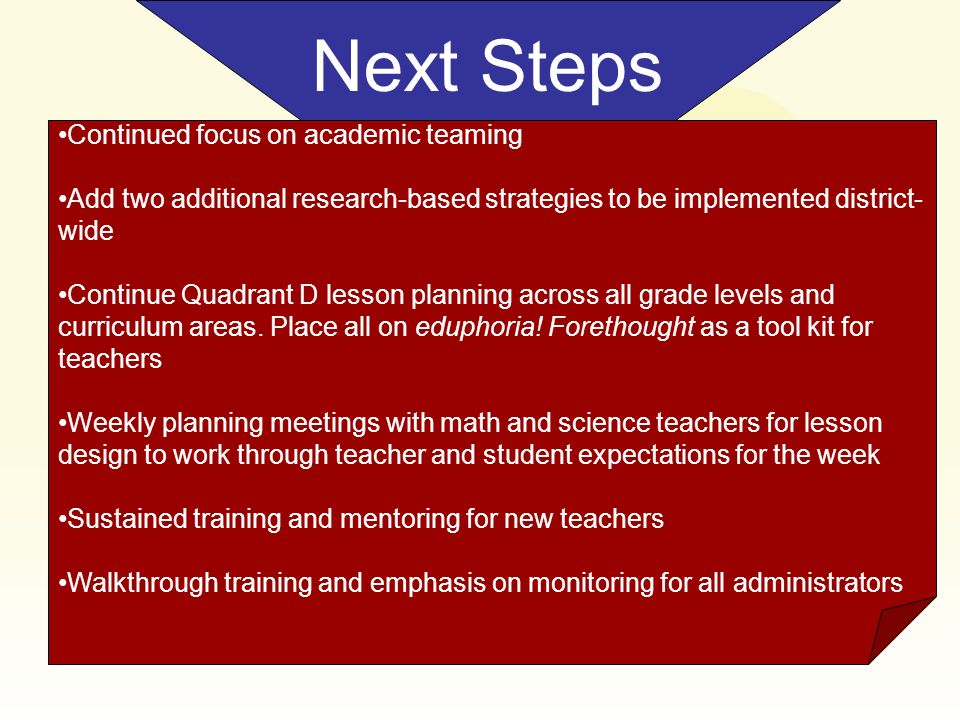 Next Steps Continued focus on academic teaming