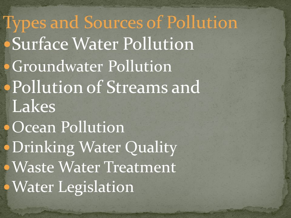 Types and Sources of Pollution Surface Water Pollution