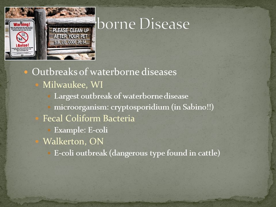 Waterborne Disease Outbreaks of waterborne diseases Milwaukee, WI
