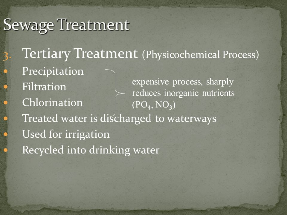 Sewage Treatment Tertiary Treatment (Physicochemical Process)