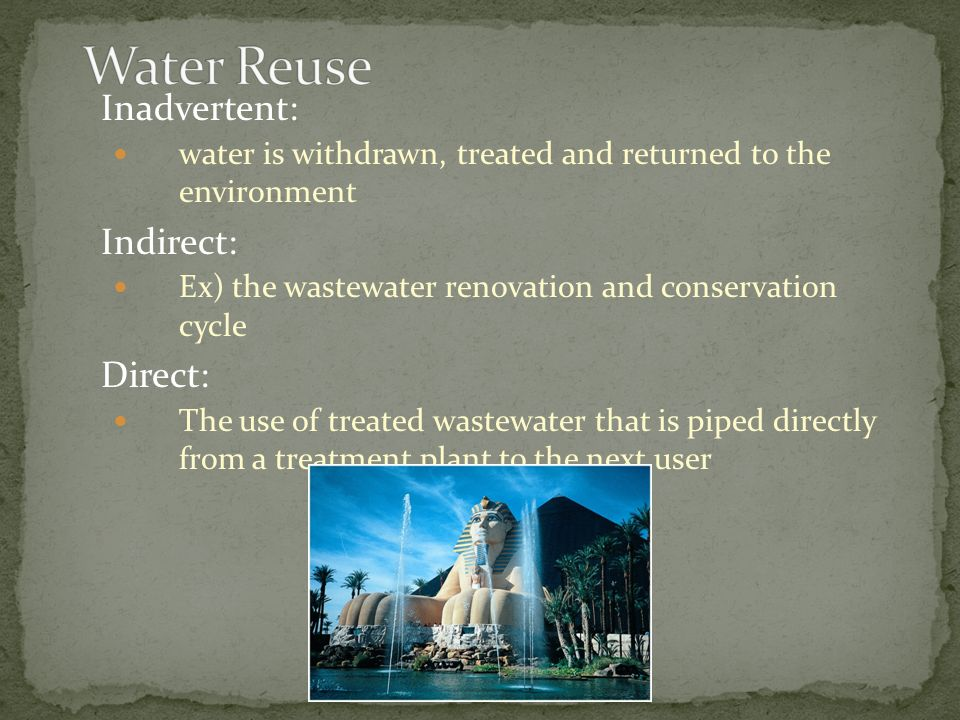 Water Reuse Inadvertent: Indirect: Direct: