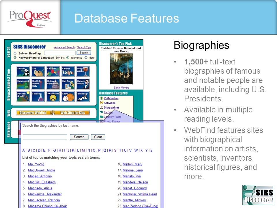 Database Features Biographies