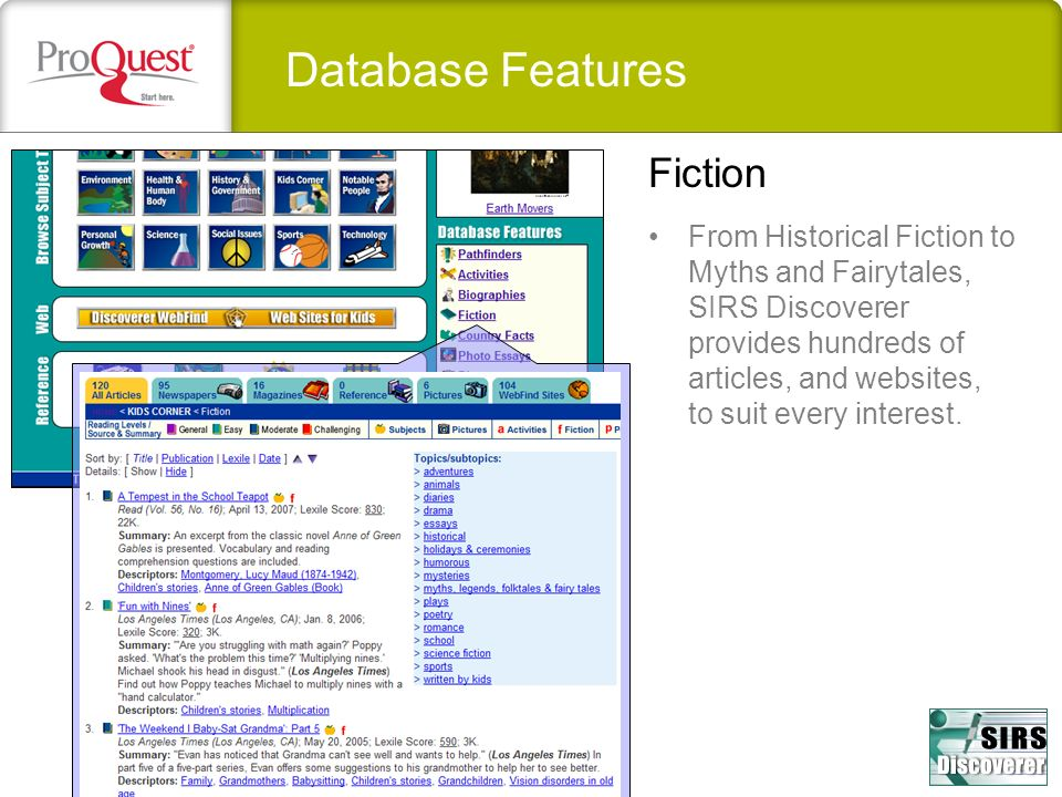 Database Features Fiction