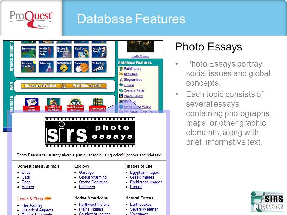 Database Features Photo Essays