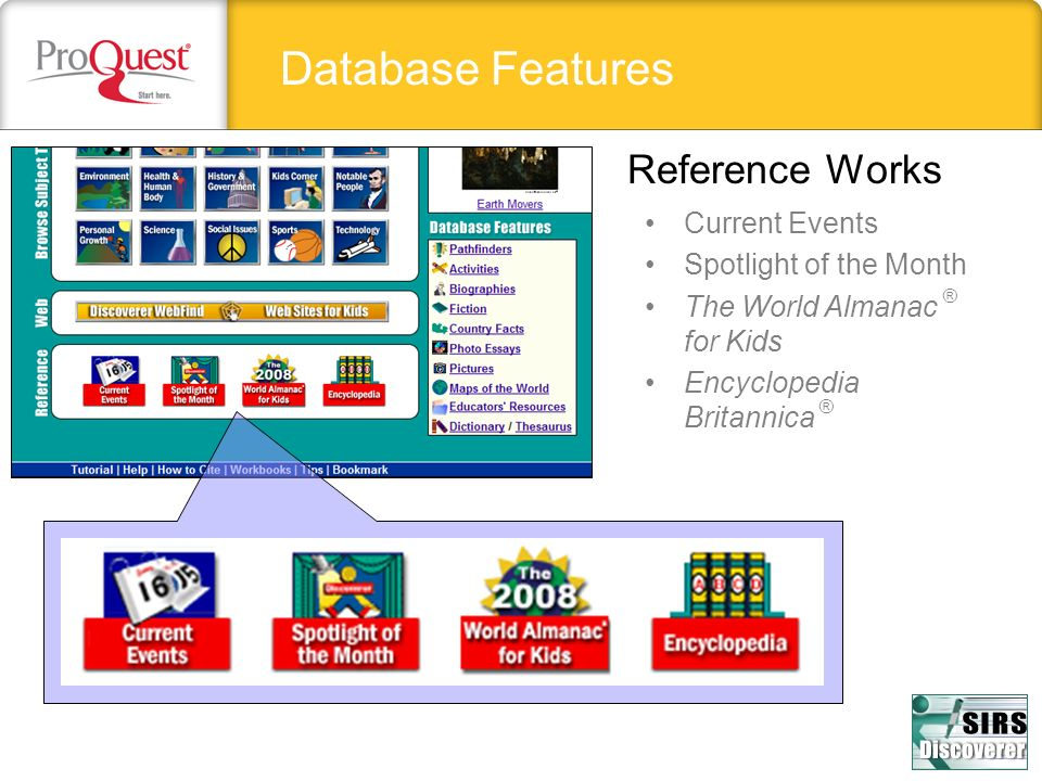 Database Features Reference Works Current Events