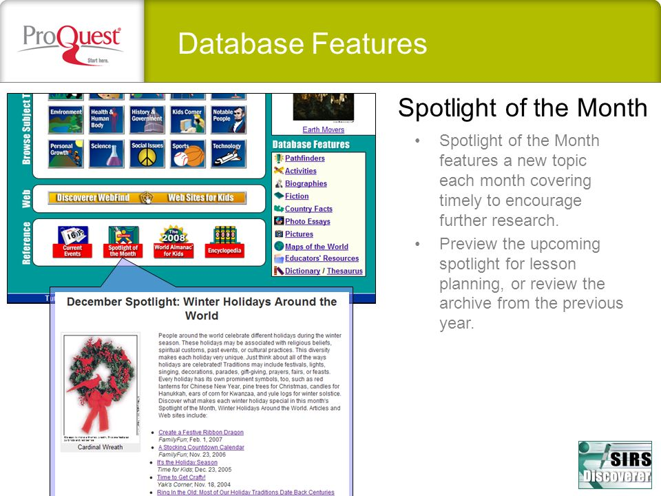 Database Features Spotlight of the Month