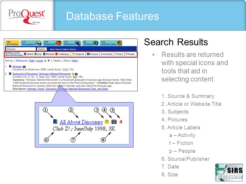 Database Features Search Results