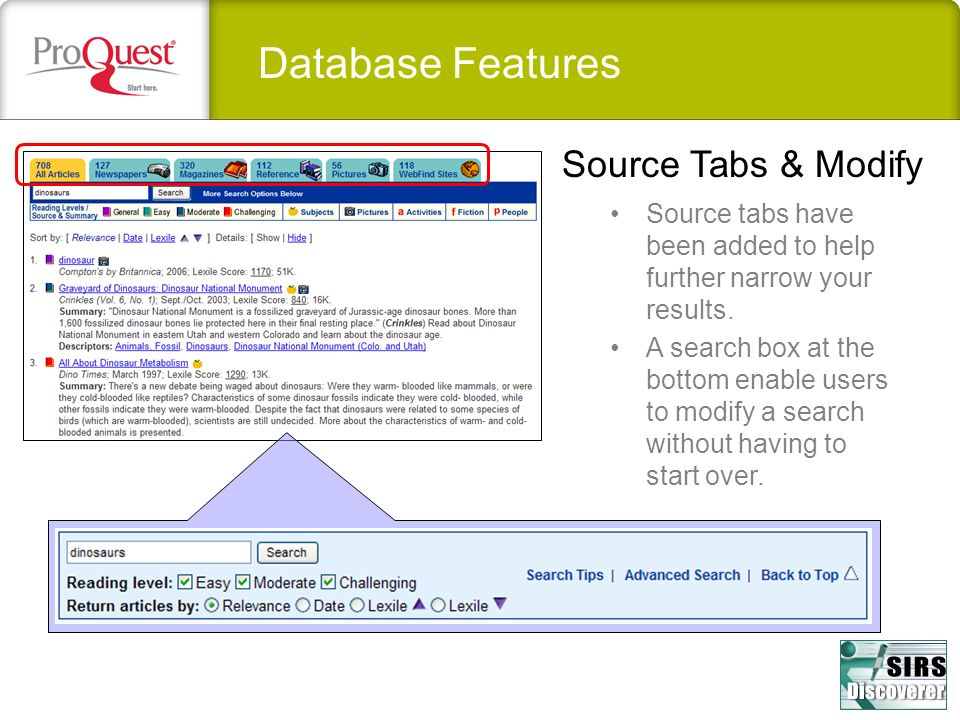Database Features Source Tabs & Modify