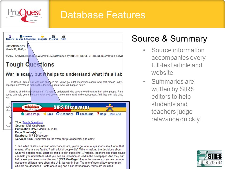Database Features Source & Summary