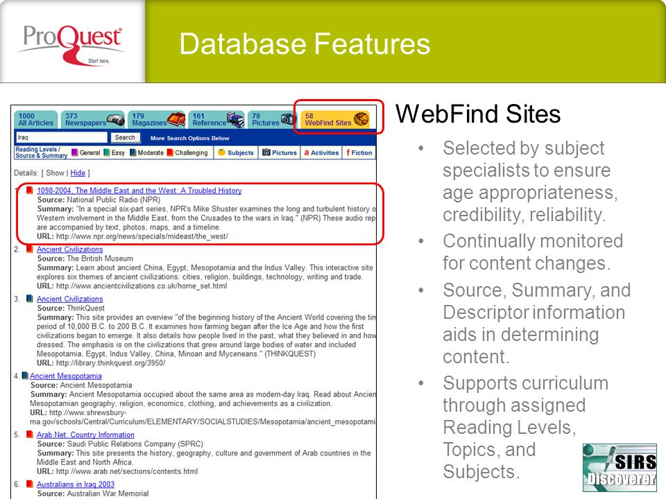 Database Features WebFind Sites
