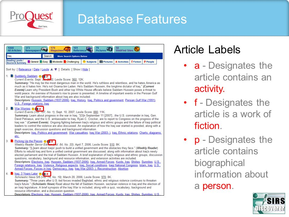 Database Features Article Labels