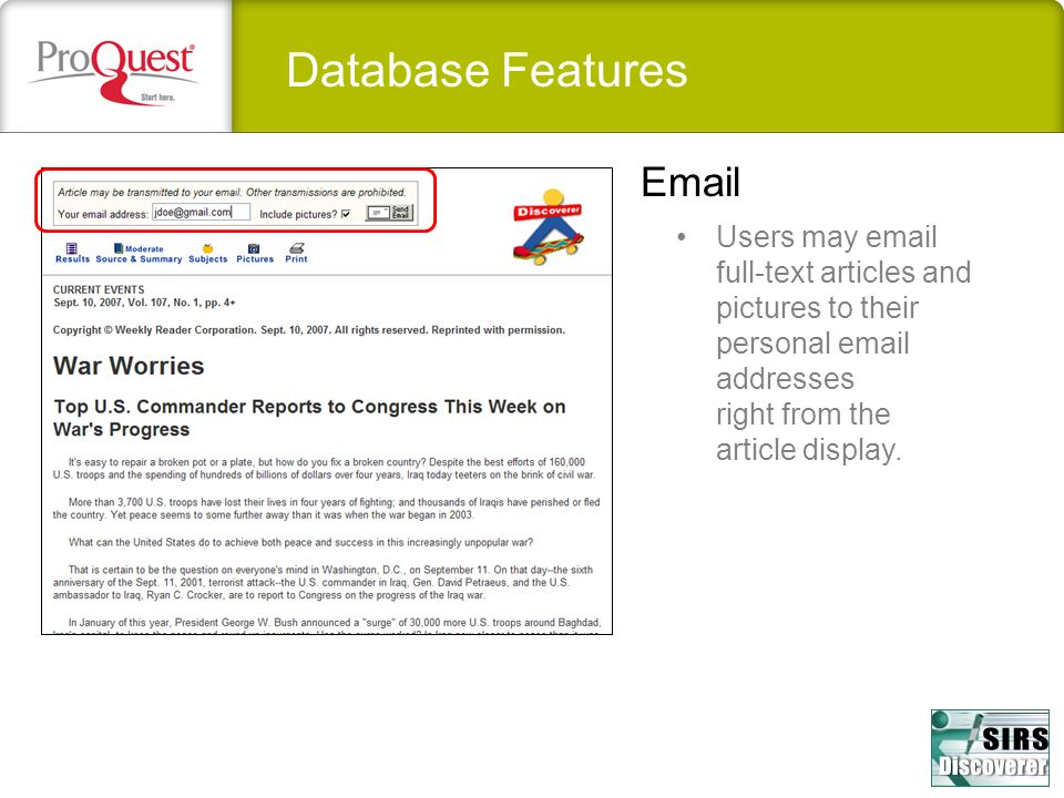 Database Features Email
